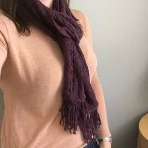 Accessories - NWOT Purple Knit Scarf with Tassels